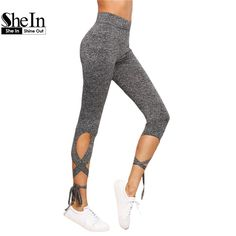 870aebd7aa7 SHEIN Women Pants Trousers for Ladies Fitness Plain Light Grey High Waist  Crisscross Tie Fitness Elastic Leggings-in Leggings from Women s Clothing  ...