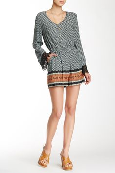 Border Print Lace Trim Long Sleeve Romper by Cecico on @nordstrom_rack