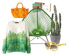 """""""A day in the desert"""" by perunica ❤ liked on Polyvore featuring Innit, Yves Saint Laurent, Diane Von Furstenberg, yellow, GREEN and lazy"""