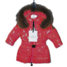 Moncler Outlet Fur Hood Long Down Kids Jacket Red Down Coat, Kids Fashion,  Winter af818589fd9