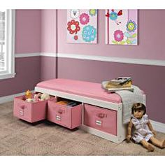 @Overstock - A comfortable bench with ample storage below  Classy, durable, wipe clean, faux leather covering on cushion and bins  Card holders on front of bins allow you to label them  http://www.overstock.com/Baby/Pink-Storage-Bench-with-Bins/6297227/product.html?CID=214117 $99.99
