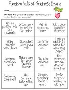 This Random Acts of Kindness Choice Board is the perfect way to foster kindness in your classroom! You can challenge students to complete all the squares in a certain time frame, or challenge them to complete one from each row or column in a week. For a fun twist, see who can get four in a row first!