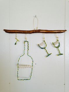 """""""Wine lover"""" 2016  Mixed media wire beads   Marna McManus  On Facebook @sunshowercreations Wine Lover, Clothes Hanger, Bobby Pins, Mixed Media, Wire, Hair Accessories, Facebook, Beads, Coat Hanger"""