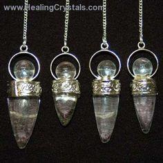 "Pendulum - Clear Quartz ""Cone"" Pendulum w/Crystal Bead- Clear Quartz - Healing Crystals"