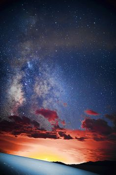 sunset, mountains and the Milky Way, White Sands National Monument, New Mexico