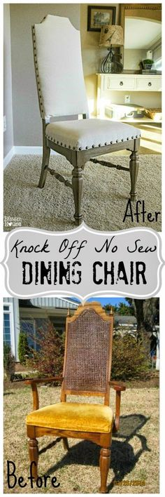 Bless'er House | Restoration Hardware and Pottery Barn Knock Off No Sew Dining Chair #UpholsteredChair