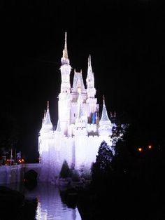A photo of Cinderella's Castle at night as part of this week's Disney Wordless Wednesday theme of Disney Castles.