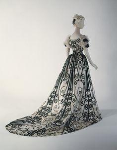 House of Worth black and white scroll dress.