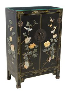 A CHINESE BLACK LACQUER AND HARDSTONE INSET CABINET : Lot 191