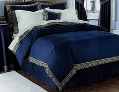 Double Bed Lancelot Navy Blue, Duvet / Quilt Cover Bedding Set, Ethnic Asian Indian Traditional Woven Border Effect, Cream Yellow Gold Indian Bedding, Blue Duvet, Chinese Furniture, Double Beds, Quilt Cover, Bed Covers, Bedding Sets, Home Furnishings, Interior Design