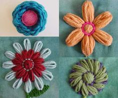 Flower loom embroidery montage by knittingand, via Flickr
