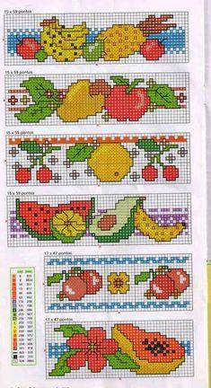 Cross Stitch Fruit, Cross Stitch Borders, Cross Stitch Flowers, Cross Stitch Patterns, Cross Stitches, Beaded Embroidery, Cross Stitch Embroidery, C2c, Cross Stitch Kits