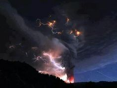 Chile Volcano Plume with lightening