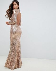 c91068cc62e1 City Goddess Long Sleeved Open Back Sequin Maxi Dress