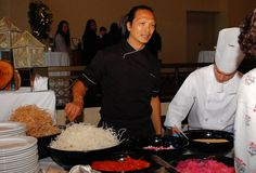 Chef Lee discussing his Singaporean type Slaw with guest at Deerhurst. Type, Cooking, Kitchen, Cuisine