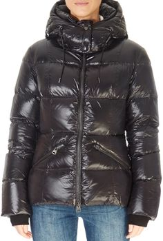 'Madalyn' Shiny Black Down Puffer Coat With Removable Hood