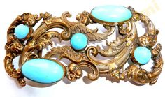 ART DECO huge turquoise cabochons BUCKLE от ODMIVINTAGE на Etsy