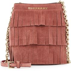 Burberry Baby Bucket Fringed Suede Bag, Russet Pink