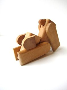 Vintage Wooden Dog Figurine Toy by HerVintageCrush on Etsy
