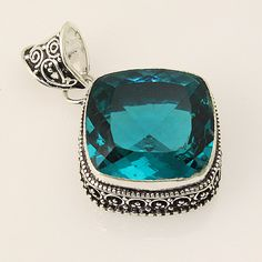 Faceted Apatite .925 Silver Handmade Hand Carving Pendant Jewelry ZA35 #Handmade