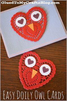Doily Owl valentine's day cards