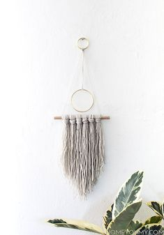 Hanging decor: grey macrame wall hanging