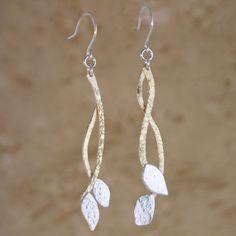 Golden Leaf Love Earrings handmade in sterling silver by Garden of Silver. www.gardenofsilver.com