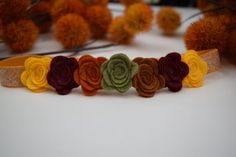Fall Mini Flower Headband Fall colors fall by SweetEllieMaeShop