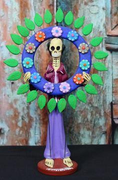 Skeleton with Wreath, Dias de los Muertos - Day of the Dead - Mexican Folk Art
