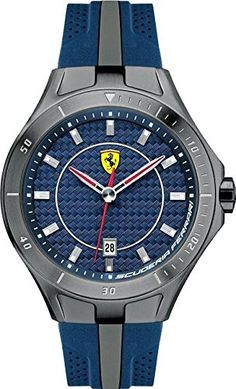 Men's Wrist Watches - Ferrari 0830081 Scuderia Blue Grey Red Date Race Rubber Men Watch NEW *** You can get additional details at the image link.