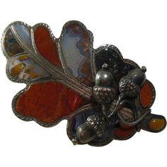 Antique Scottish Sterling Silver & Agate Oak Leaf & Acorn Brooch 1880-1900
