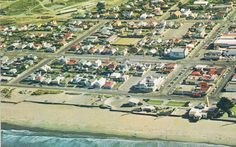 Aerial View of New Brighton, 1960's-70's the old pier was already demolished. Christchurch, New Zealand