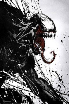 A painted poster for Venom, the superhero film with Tom Hardy. - A painted poster for Venom, the superhero film with Tom Hardy. Venom Comics, Marvel Venom, Marvel Villains, Marvel Art, Marvel Dc Comics, Marvel Heroes, Marvel Avengers, Venom Spiderman, Poster Marvel