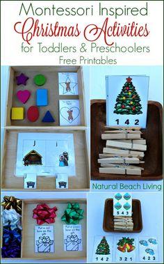 Montessori Inspired Christmas Activities for Preschoolers (Free Printables)
