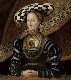 Portrait of Christina von Sachsen (* 25. Dezember 1505 - 15. April 1549 in Kassel) war eine Prinzessin von Sachsen und durch Heirat Landgräfin von Hessen. I love her black and white checked hat with jewelry hanging from it.