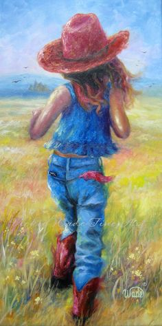 Vickie Wade--Cowgirl Art Print 18 X country girl paintings, farm girl, little cowgirl painting, western images art, Vickie Wade art Painting Of Girl, Painting & Drawing, Girl Paintings, Country Paintings, Little Cowgirl, Farm Art, Cowboy Art, Country Art, Western Art
