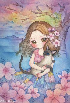 Juri Ueda watercolour painting, girl with cat.   #juriueda #juri #ueda #juri ueda #painting #watercolour #watercolor #siamese #cat #merlin #eva #tree #blossom #cherryblossom #cherry #mountain #beautiful #cute