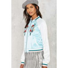 Glamorous Vine With Me Embroidered Bomber Jacket (£33) ❤ liked on Polyvore featuring outerwear, jackets, blue, bomber jacket, flight bomber jacket, blouson jacket, blue jackets and embroidered jacket
