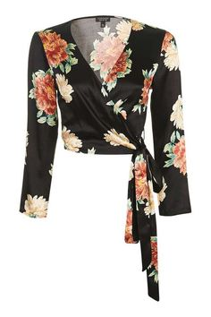 Designer Clothes, Shoes & Bags for Women Blouse Styles, Blouse Designs, White Wrap Top, Satin Crop Top, Satin Shirt, Topshop Tops, Petite Tops, Cute Casual Outfits, Floral Crop Tops