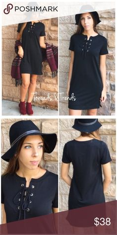 Sleek Black Lace Up Shift Dress Trendy & perfect for the fall. This black dress featuring a lace up tie in the front is perfect for anyone this season. S,M,L  Material:  Measurements: Small Bust 36 Length 36  Medium Bust 40 Length 37  Large  Bust 44 Length 38 Dresses