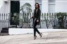 khaki coat and brand leather pants | HarperandHarley