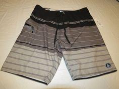 Men's Volcom Mod Tech Sas Baia Park black stripes board shorts surf swim NWT 36 #Volcom #BoardSurf