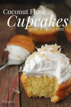 These coconut flour cupcakes are completely grain-free, and SO yummy! Top them with a little whipped cream or meringue, and they're perfect!