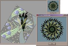 Sharla Hicks Comment: I scanned my fabric, imported into Kaleidoscope Kreator 3.0. Clicked a few buttons and magic happened.  The software renders how a wedge will look in a finished block. More ideas and my review of the program here