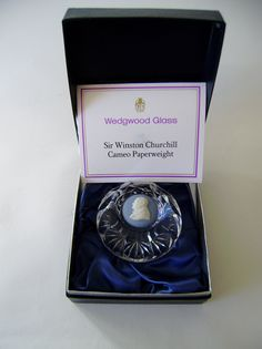 Vintage Wedgwood glass sir Winston Churchill cameo paperweight 1,000 No128   eBay