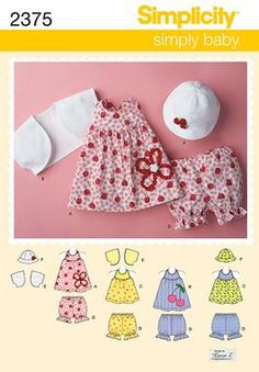 2375 Babies' Dress & Separates  Babies' dress, top, panties, bolero and hat sewing patterns…hat in three sizes