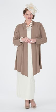 Box 2 taupe jersey jacket, vest and skirt