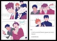 Glasses!Oikawa is a fraud