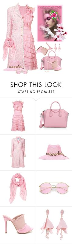 """""""Head to Toe, Pink"""" by ragnh-mjos ❤ liked on Polyvore featuring Elie Saab, Givenchy, Chanel, Maison Michel, Fendi and Oscar de la Renta"""