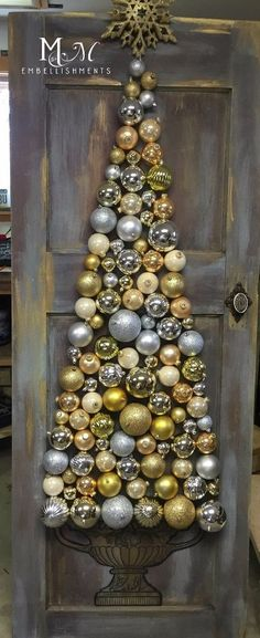Christmas Bauble Tree on Salvage Door - Door and Urn were handpainted * Baubles and star were glued in place.